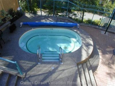Large shared hot tub just steps from the door