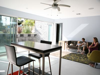Living area with satellite TV adjoins the kitchen
