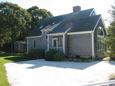 Edgartown house rental - Front entry with ample parking