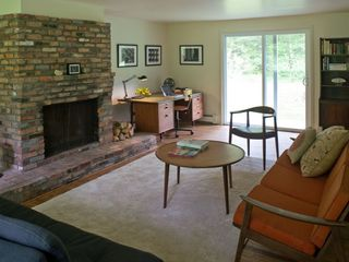 large living room with fireplace, sliders to go out, office and flat screen tv - Great Barrington property vacation rental photo