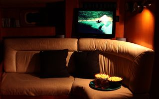 Bocas del Toro yacht photo - Movie Night in the Living Room- 2 sofas plus movie collection, flat screen TV