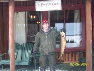 Tomhegan cabin photo - Feb. 2009 - Danny's 8lb. Togue