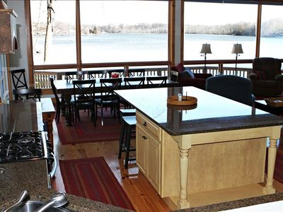 Kitchen island, lake view