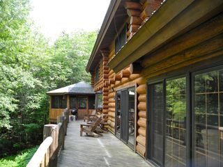 Piseco Lake lodge photo - View of Lakeside Deck and Porch.