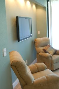 Flat Screen Wall Mounted TV, 2 New Recliners and Pullout Couch