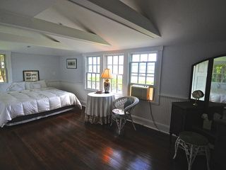 Oak Bluffs house photo - Large Master Bed Room overlooking Harbor. Hardwood floors and antique vanity.