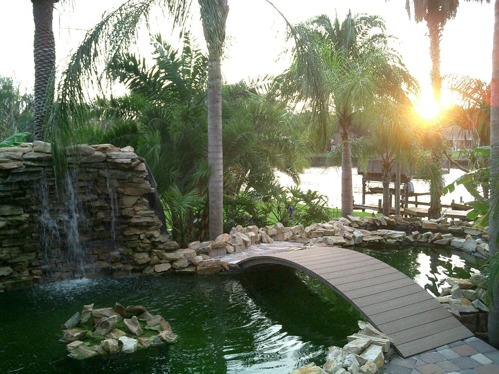 Gorgeous water views breathtaking sunsets in vrbo for Virtual koi fish pond