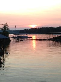 Lewis Smith Lake house rental - Beautiful Sunset over Smith Lake from our backyard at water's edge.