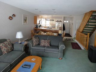 Ossipee Lake townhome photo - Main lounge, dining, kitchen with HD TV