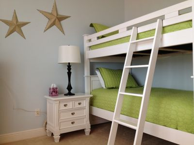 3rd bedroom has twin-over-twin bunk beds + a twin bed with trundle