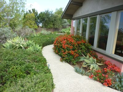Walk leading to front door and patio. Landscaping is 'eye candy'.