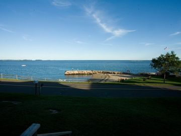 Branford house rental - View from the porch steps with beach and breakwater
