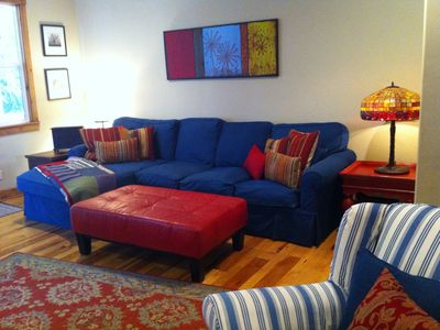 Family Room Couch -- Lots of Room with Red Leather Ottoman