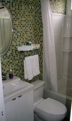 Silver Lake apartment photo - Green glass mosaic tile on bath walls & floor