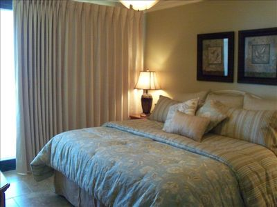 Intimate Master Bedroom with New Serta King Size Matress.