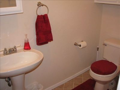 Downstairs full bath with shower stall.