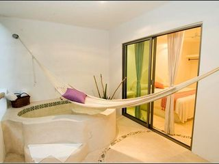 Playa del Carmen condo photo - Spacious private terrace w hot tub in 1 bdr condo