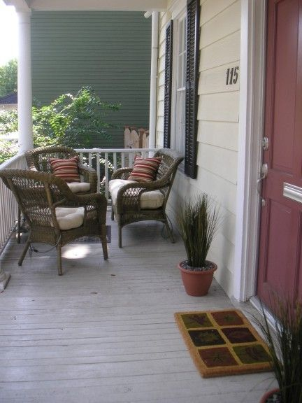 Comfortable front porch with seating - perfect for evening relaxation!