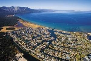 aerial view of the Tahoe Keys and Lake Tahoe