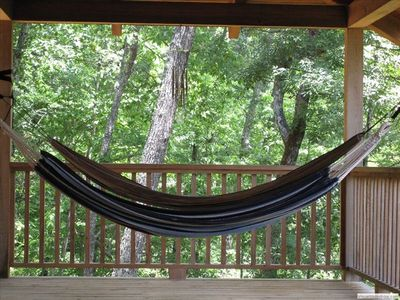 Relax in the hammock on the upper deck.