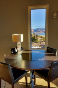 Dining area with view of Abiquiu Lake