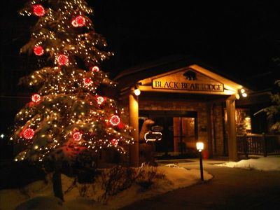 Entrance to Black Bear Lodge lobby-magical at Christmas!