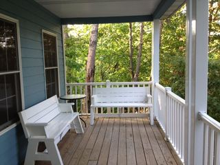 Utica house photo - Large covered deck provides ample seating to enjoy the scenic river views