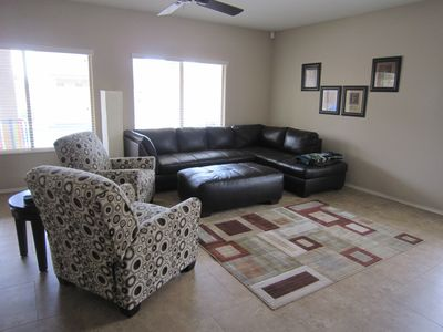 Main level family room perfect for watching football or hockey games!