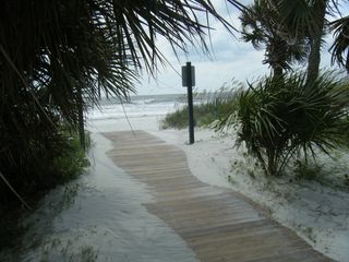 Folly Field condo photo - The end of the boardwalk at the beach in front ot Coco's at the Beach