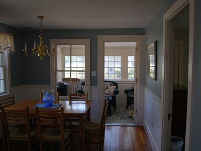 Edgartown cottage rental - Dining Area leading to Sunroom