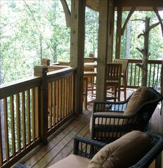 Cashiers condo photo - Deck sits high in the treetops