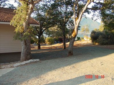 Clearlake Oaks house rental - Side yard parking area. Easy access and parking for boats.