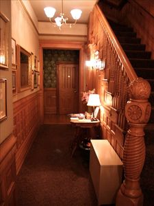 Our restored wood-paneled lobby