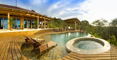 Infinity Pool with Hot Tub and Outdoor Kitchen