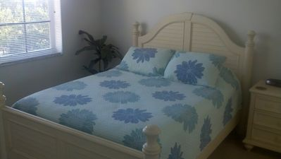 2nd upstairs bedroom with queen bed and full bath