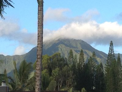 Check out the emerald mountain top from our huge covered Lanai