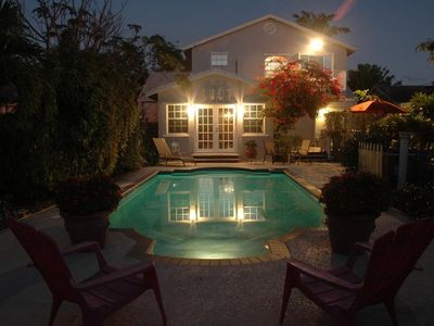 Lake Worth house rental - Backyard at dusk - very private, fully fenced.