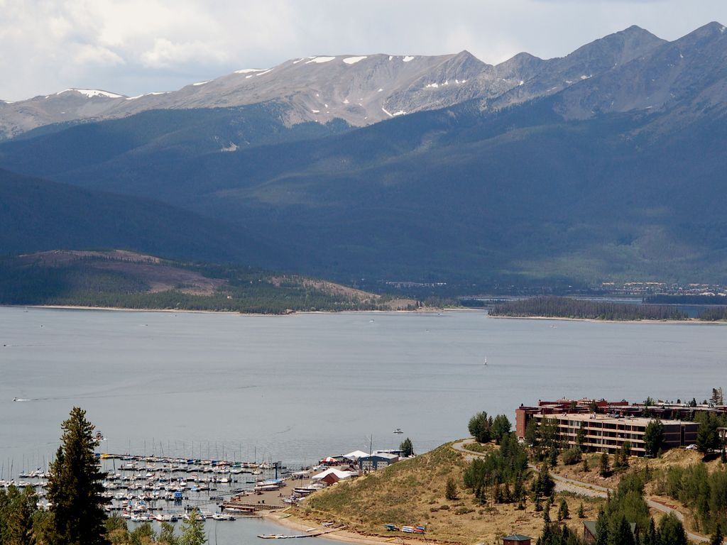 Lake Dillon and the Ten Mile range behind it. The Lodge is at the lower right.