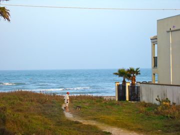 A view of the walkway to the beach from our condos!
