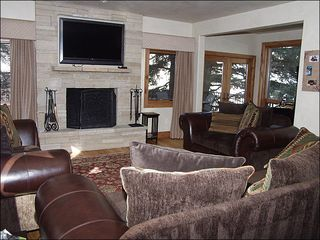 Beaver Creek house photo - Living Room Boasts a Wood-Burning Fireplace and Flat-Screen TV