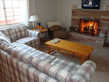 Morro Bay house rental - Family room with cozy gas-burning fireplace.