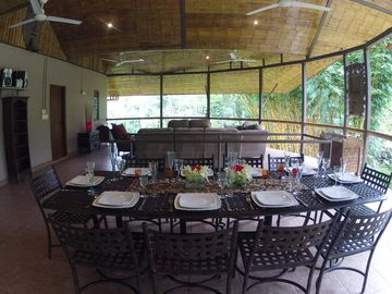 Upstairs Lounge/Dining Area over looks the river.