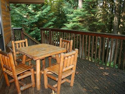 Outdoor Dining overlooking the woods and Sandy River