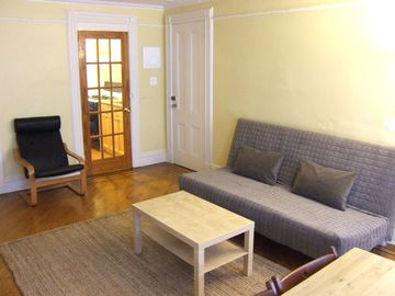 Brooklyn townhome rental - Living Room: (1) Full-size sofa bed (sleeps 2); lounge chair; French door...
