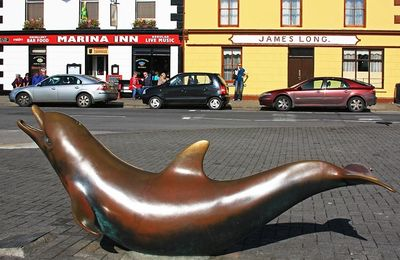 A statue of our local resident dolphin who can been seen from Waters Edge