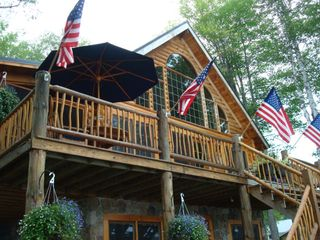 Lunenburg cabin photo - .Deck overlooking the Lake with hot tub.