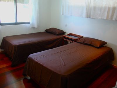 Bora Bora house rental - The second bedroom sleeps two comfortably. The window faces the lagoon!