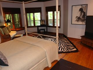 Big Canoe house photo - Terrace queen bdrm with amazing lake views & large screen tv with adjacent bath.