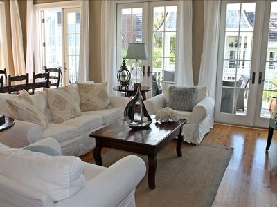 Living area. French doors open to large balcony.Seating for 8 outside ocean view