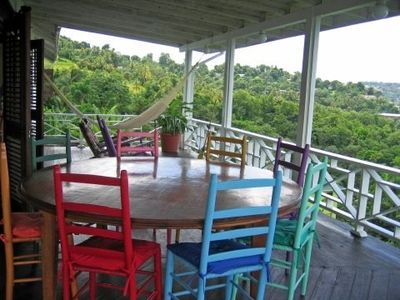 Dining area on the 50 ft long verandah